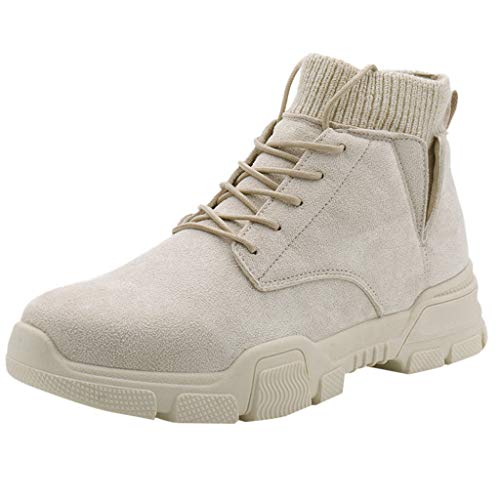 BRISEZZ mode heren herfst en winter suède trendy sokken casual high top motorlaarzen tooling boots laarzen voor dagelijkse slijtage (beige, zwart, bruin, grijs, 38-44)