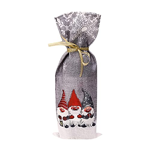 EMFGJ Bolsas de regalo para botellas de vino de Navidad con cordón, resistentes y reutilizables para fiestas, decoración de mesa, regalos, color gris