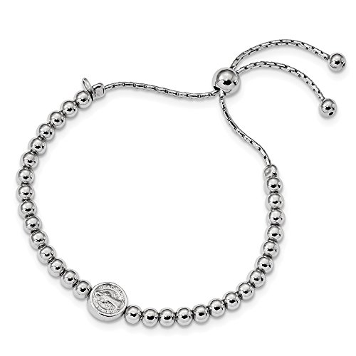 925 Sterling Silver Beaded Saint Medal Pendant Charm Necklace 5 Inch To 8.25 Bracelet 9 Religious Adjustable Stretch Wrap Fine Jewelry For Women Gifts For Her