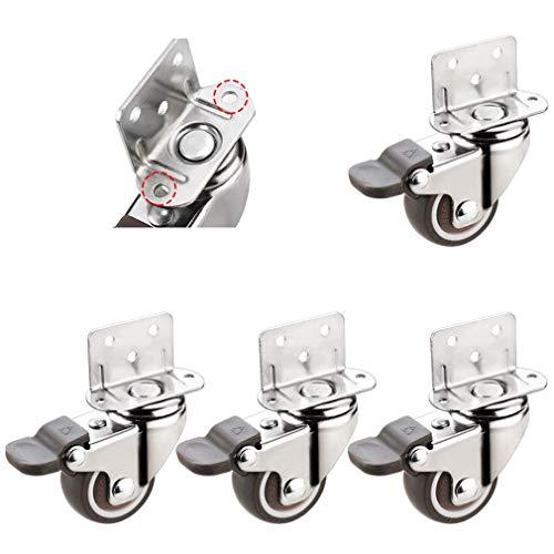 DGDG Rueda giratoria Ruedas, echador de los Muebles, con Forma de L de la Placa Superior, de Goma Suave, Gira 360 Grados, adecuados for el bebé carruajes, (Color : Brake, Size : 25mm)