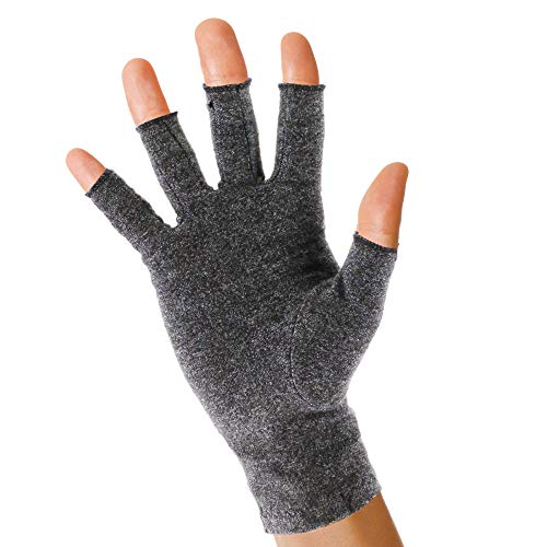 Pivit Fingerless Anti-Bacterial Arthritis Compression Gloves | Smart Stitching & Open Finger | Heat & Compression Hand Glove for Arthritic Joint Pain Relief Rheumatoid, Osteoarthritis & Carpal (Small)