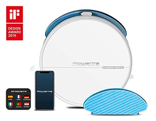 Rowenta X-Plorer Série 60 Aspirateur Robot Laveur Autonomie 1h30 Sols Durs Tapis Filtre allergène Idéal pour Meubles Bas Wifi Compatible Smartphone Alexa Google Assistant RR7447WH