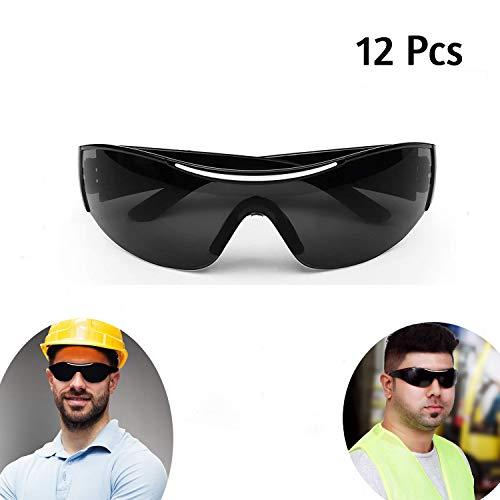 Schutzbrille - 12 Pcs Schwarze Sonnenbrille - Schwarz Schutzbrillen Zum Schutz Augen mit Schwarz Kunststoff-Linsen Schutzbrille für Baustelle, Sommer, Mode, Sonnenbrillen für Erwachsene und Kinder