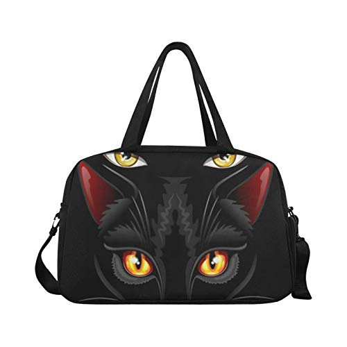 Sports Gym Bag Witch Black Cat Eyes Sorcery Travel Bags Duffle Bag Dispatch Luggage Workout Fitness Handbag Overnight Shoulder Bag for Outdoor
