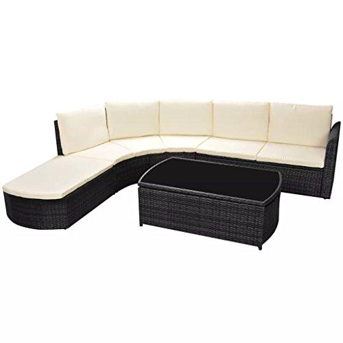 Lingjiushopping Conjunto de sofa/muebles de jardin 15 piezas poliratan negro Material: Estructura de acero con recubrimiento en polvo + ratan PE + encimera de cristal
