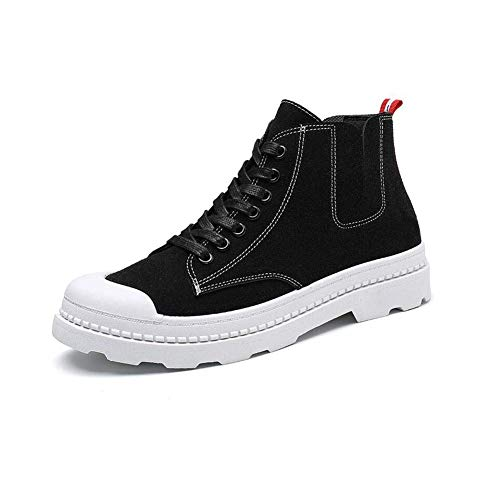 Win&Factory laarzen voor lente, modieus, Martin laarzen, veters, hoge hakken, voor mannen (kleur: grijs, maat: EU40/UK7/CN41) Eu42/Uk8.5/Cn43-black