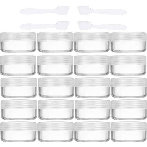 20 Piezas Tarros de Crema 10g / 10ml Vacío Plástico Transparente Contenedor de Cosméticos Tarros - para Cosmética Sombra de Ojos Uñas Polvo Envase - con 4 Piezas Mini Espátula (Transparente)