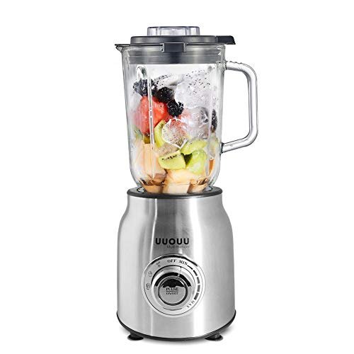 UUOUU Blender, Professional Countertop Blenders for Kitchen, Blender for Shakes and Smoothies, 1600 Peak Watts, 304 Stainless Steel Blades, Infinite Speed Control, 60 oz Glass Pitcher