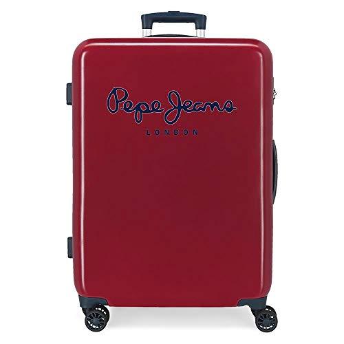 Pepe Jeans Albert Maleta Mediana Rojo 48x68x26 cms Rígida ABS Cierre de combinación Lateral 70L 2,66 kgs 4 Ruedas Dobles