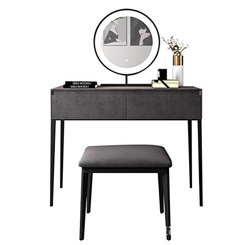 HLDWXN Dressing Table with LED Lights Mirror - Vanity Makeup Table Set with Adjustable Brightness Mirror, Cushioned Stool, 2 Sliding Drawers, for Bedroom, Dressing Room,120cm