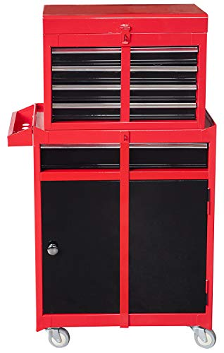 BIG RED ATBT1204R-RB Torin Rolling Garage Workshop Tool Organizer: Detachable 4 Drawer Tool Chest with Large Storage Cabinet and Adjustable Shelf, Red/Black