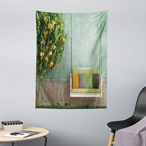 ABAKUHAUS Tuin Wandtapijt, Houten schommel in de tuin, Stoffen Muurdecoratie voor Woonkamer Slaapkamer Slaapzaa, 110 x 150 cm, Geel groen