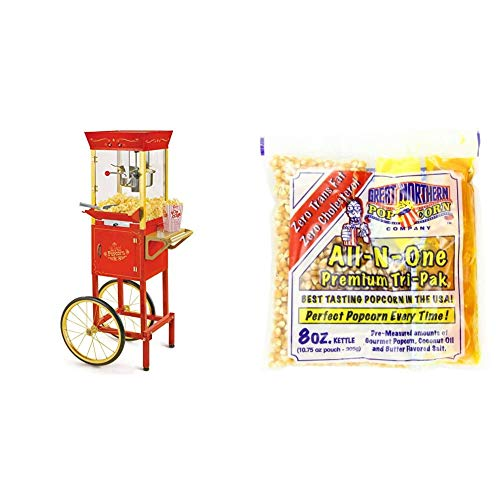 Nostalgia Concession CCP510 Vintage Professional Popcorn Cart-New 8-Ounce Kettle-53 Inches Tall-Red & 4110 Great Northern Popcorn Premium 8 Ounce (Pack of 24) Popcorn Portion Packs, Case of 24