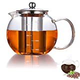 AUBBC Glass Teapot Has Scale Line with Stainless Steel Infuser (32 oz), Stovetop Safe Glass Tea...
