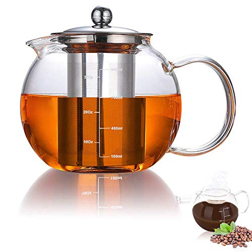 AUBBC Glass Teapot Has Scale Line with Stainless Steel Infuser 32oz/950ml Stovetop Safe Glass Tea Kettle for Blooming and Loose Leaf Tea  Durable Borosilicate Glass  BPA Free