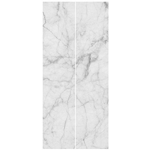 Bilderwelten Vliestapete Tür - Bianco Carrara - Türtapete Fototapete Türdeko Motivtapete Wanddesign Designtapete Größe HxB: 215cm x 96cm