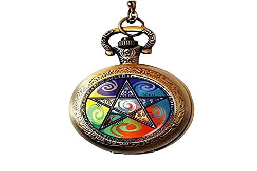 Astrología Pentagrama Art Photo - Reloj de bolsillo para hombre y mujer