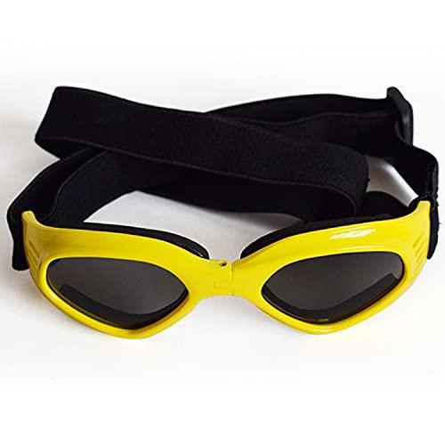 LPWCAWL Plegable Perros Gafas De Sol,Gafas para Perros Antivaho,Resistentes Al Viento,Protección UV para Mascotas Que Padecen Enfermedades Oculares Y Fotofobia,Amarillo