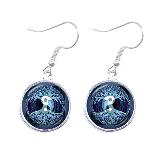 Pendientes de gota Ying Yang con signo mágico, pendientes zen de cristal, cabujón, árbol de la vida, para mujeres y niñas, regalo