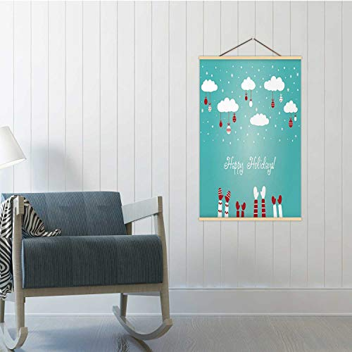 Hitecera Christmas Winter Holiday Illustration with Many Children Hands Raised up Christmas,Poster Frame Child Poster 24x47in(WxH)