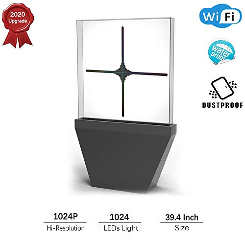 Best Price Zhengpin 3D Hologram Fan Display, Upgrade 39.4Inch Acrylic Cover Hologram Advertising Dis...