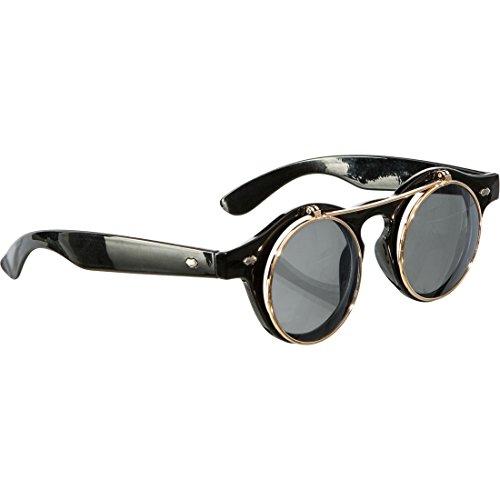 Amakando Gothic Klappbrille Viktorianische Faschingsbrille Runde Halloween Sonnenbrille Steampunk Brille Karnevalskostüme Accessoires Vampir Rundbrille Aufklappbare Spaßbrille
