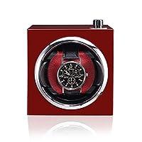 時計ワインダー、1時計木製塗装ケース、サイレントランニング回転モーター、サイズ11 11 13cm、赤、黒オレンジ時計ワインダー(色:赤)を収容できます
