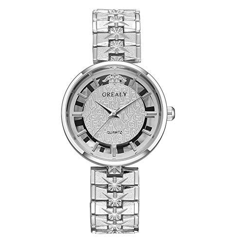 GJHBFUK Reloj Mujer Reloj De Mujer De Negocios De Aleación Simple Y Elegante Reloj De Cuarzo con Pantalla Analógica De Esfera Redonda Plateado