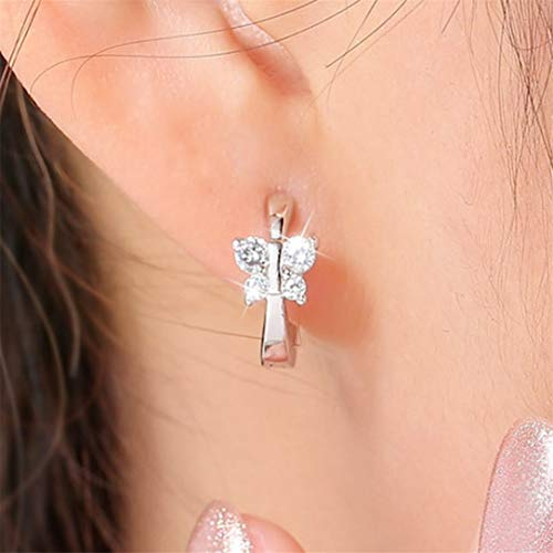 ZSDFW Pendientes de mariposa con diamantes de imitación de gancho de aro y pendientes de gota para mujeres y niñas