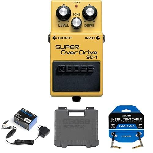 Paquete de pedal BOSS SD-1 Super Overdrive con adaptador PSA, pedalera de efectos de guitarra BCB-30X y tres cables de conexión de pedal para pedaleras