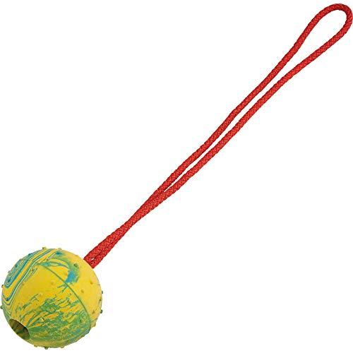 B2Quadrat Dogs Wurfball mit Seil extrem robust, Vollgummiball unzerstörbar, Hundespielzeug, für Agilität und extrem Weite Würfe