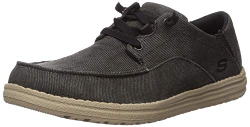 Skechers mens Melson-volgo Canvas Slip on Moccasin, Black, 11.5 US