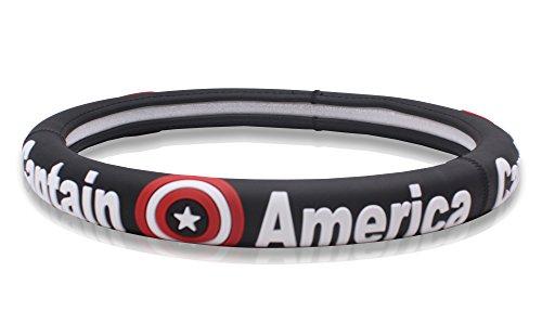 FINEX Silicone Captain America Superhero Auto Car Steering Wheel Cover - Black - Universal Fit