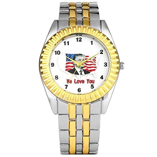 Einzigartige Amerika-Flagge mit Donald Trump Muster Zifferblatt Armbanduhr für Herren, charmante Quarzuhr für Jungen, komfortable Edelstahl-Armbanduhr, für Männer