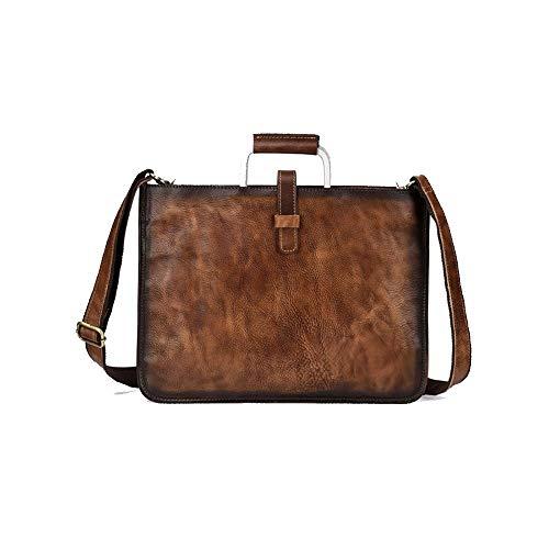 A-hyt Cómodo y cómodo bolso de mano para hombre, diseño de árbol, color crema, cuero retro, para senderismo, fácil (color: marrón, tamaño: 37 x 28 cm)
