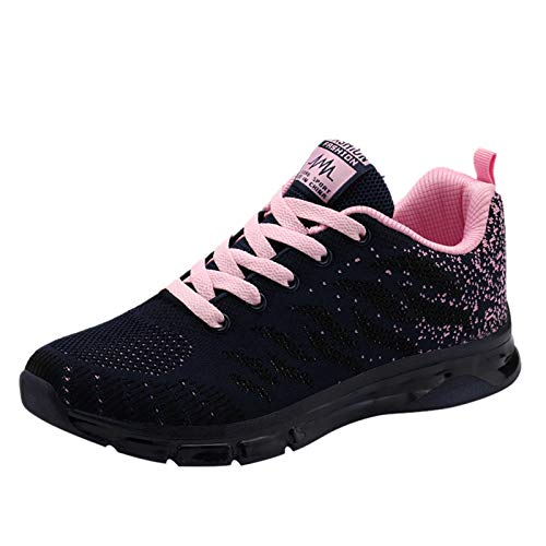 DAIFINEY Damen Sneaker Mesh Sportlicher Trainingsschuh Sportschuhe Laufschuhe Schnürer Turnschuhe(1-Pink/Pink,37)