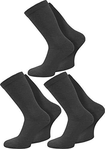 normani 3 Paar spezielle Komfort-Socken ohne Gummi für Diabetiker oder Problemfüße (z.B. Wasserbeine/Elefantenfüße) Farbe Anthrazit Größe 43-46