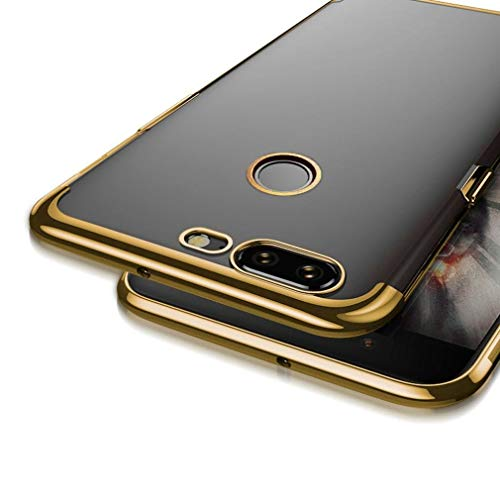Voberry Ultrathin Plating Clear Slim Soft Silicone Protective Case Cover For OnePlus 5T (Gold)