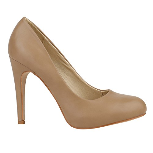 Elegante Damen Pumps High Heels Businessschuhe Leder-Optik 150574 Khaki Autol 38 Flandell