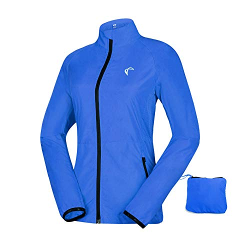 Women's Packable Windbreaker Jacket, Lightweight and Water Resistant, Active Cycling Running Skin Coat, Blue M