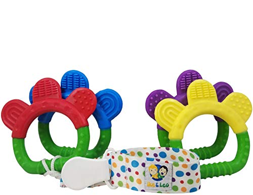 Ike & Leo Teething Toys  Baby Infant and Toddler with Pacifier Clip/Teether Holder   Best for Sore Gums Pain Relief    Set of 4 Silicone Teethers...