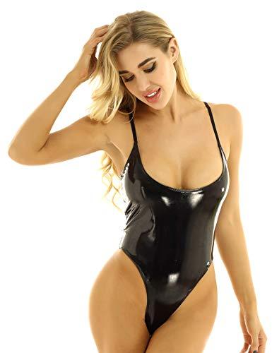 TSSOE Womens PVC Leather Spaghetti Straps Lingerie High Cut Thongs Teddy Bodysuit One Piece Leotard