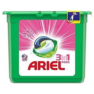 Ariel Todo En Uno Pods, Rosa Fresca, Detergente en Cápsulas, 24 Lavados, con Lavado a 30 °C y Perfume Duradero