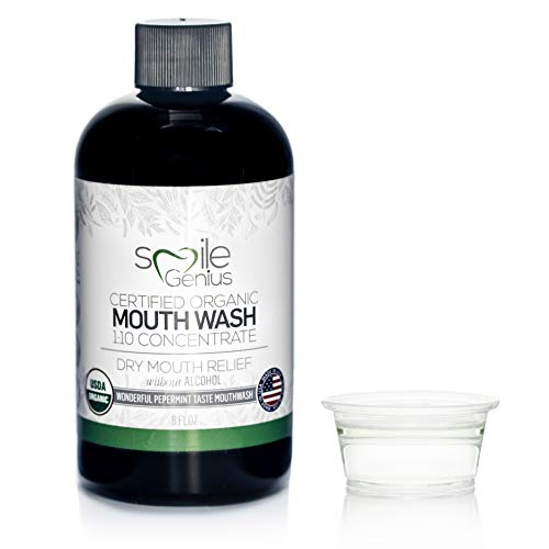 Organic Natural Mouthwash Fluoride and Alcohol Free. Ultra-CONCENTRATED for Bad Breath and Dry Mouth Relief, Alcohol Free, Chemical Free, Cruelty Free, Vegan, Vegetarian, (1 bottle (8 fl oz))