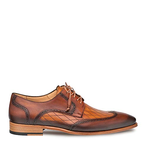 Mezlan Argento - Mens Luxury Lace-Up Dress Shoes - Diamond Patterned Etched Calfskin and Deeper Toned Burnished Wing-Tip - Handcrafted in Spain - Medium Width (Cognac/Honey, 8)