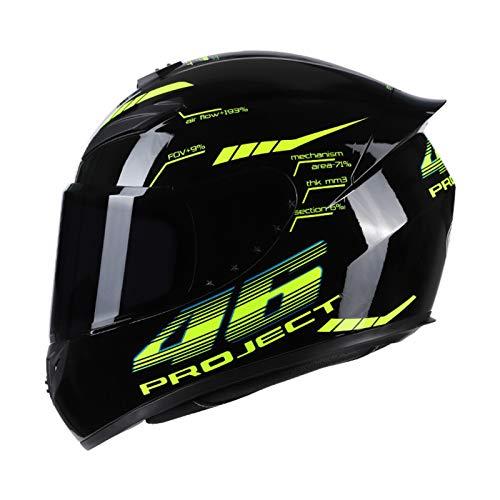 KKmoon Integralhelm Helm Kopfumfang 57-58cm Motorradhelm Street Helm Unisex Adult für Motorrad M Schwarz&Grün