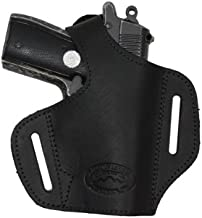 Barsony Black Leather Pancake Gun Holster for Taurus TCP 738 .380 Right