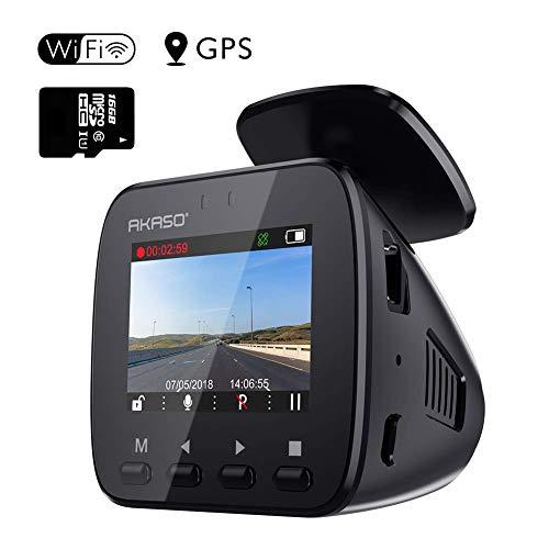 Caméra Voiture Dashcam GPS Wifi - AKASO Conduite Enregistreur Embarqué Surveillance 1296P Full HD Sony Capteur G Grand Angle 170° WDR Vision Nocturne Enregistrement en Boucle Parking Moniteur Carte SD