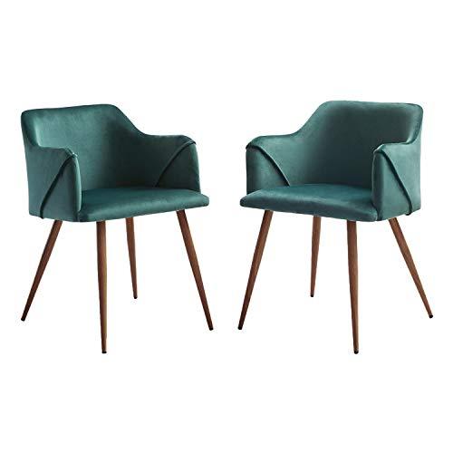 H.J WeDoo 2er Set Esszimmerstuhl Samt Retro Design Sessel, skandinavischen Stuhl mit Gepolstertem Rücken und Sitz, Metall Beine Holzmaserung Finish - Dunkelgrün