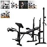 GBSELL Weightlifting Bench Adjustable, Strength Training Benches, Olympic Weight Benches, Multifunctional Workout Bench, Fitness Bench Bed, Barbell Rack and Weight Bench